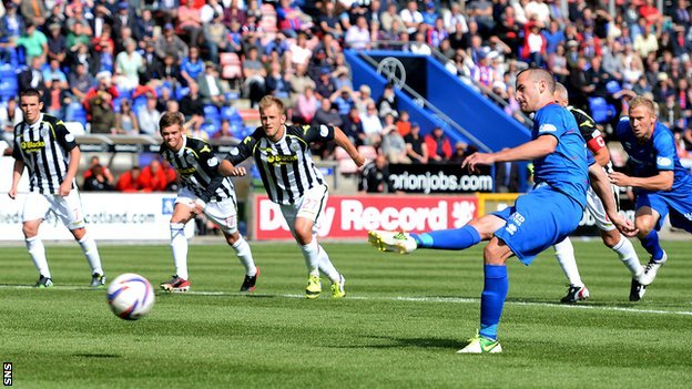 James Vincent scores a penalty for Inverness against St Mirren