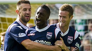 Ross County celebrate Darren Maatsen's third-minute goal