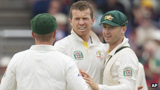 Brad Haddin, Peter Siddle and MIchael Clarke