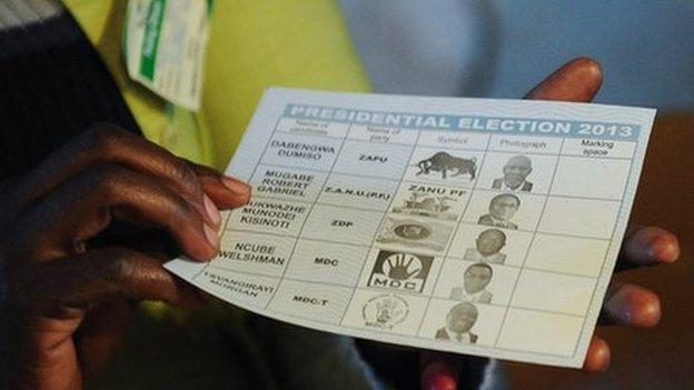 Zimbabwe ballot paper