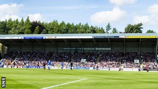 Hearts support in McDiarmid Park's north stand