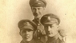 Edgar Wyn Williams (back) and two comrades