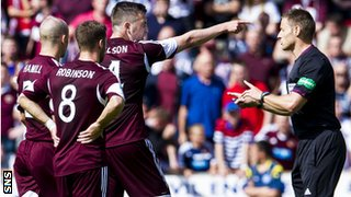 Hearts players protest