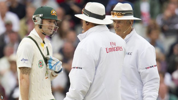 Michael Clarke, Marais Erasmus and Tony Hill