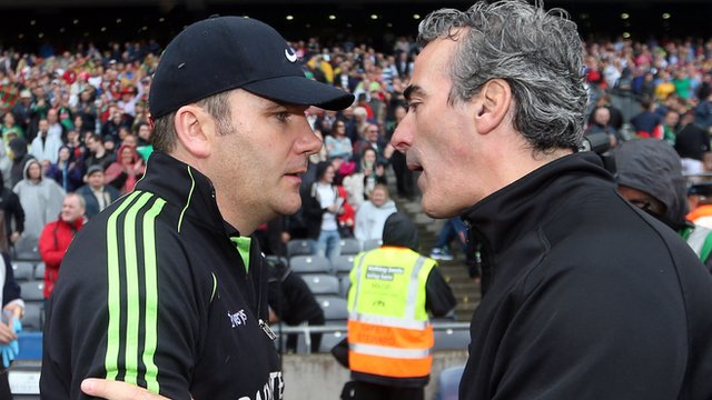 Mayo's James Horan with Donegal's Jim McGuinness after the All Ireland quarter-final in Croke Park