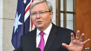 Australia's Prime Minister Kevin Rudd addresses the media after calling a general election in Canberra on 4 August 2013