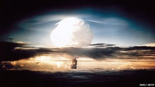 The mushroom cloud produced by the first explosion by the Americans of a hydrogen bomb at Eniwetok Atoll in the South Pacific