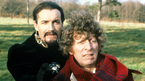 Anthony Ainley as the Master, and Tom Baker as the Doctor