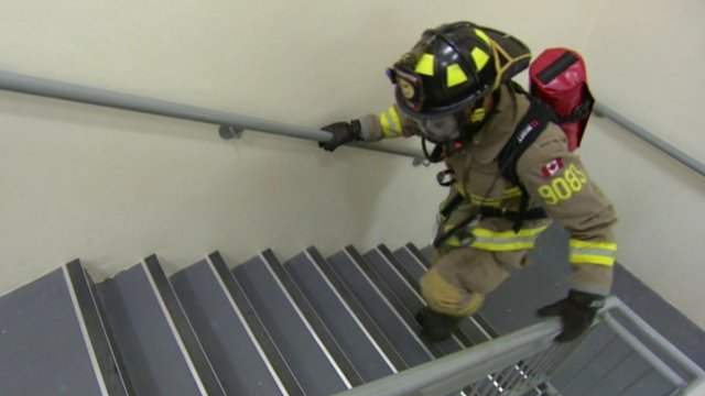 Firefighter on stairs