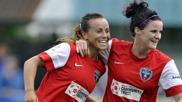 Natasha Harding of Bristol Academy celebrates with team-mate Jasmine Matthews
