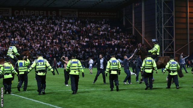 Some Preston supporters ran on to the pitch at the final whistle