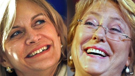 Evelyn Matthei (left) and Michelle Bachelet