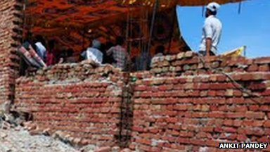 The wall of a mosque which was demolished by authorities on 27 July