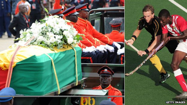 Left: The funeral of Ghana's President John Atta Mills Right: A Ghanaian hockey player in red playing against a Belgium player