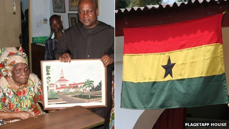 Left: Madam Theodosia Okoh presents President John Dramani Mahama with one of her paintings. Right: The Ghanaian flag hanging at her house