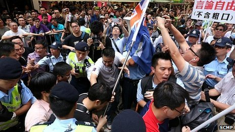 Scuffles in Hong Kong's Mong Kok district
