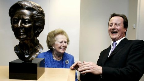David Cameron unveiling a bust of Margaret Thatcher at the Conservative Campaign Headquarters on 18 February 2008