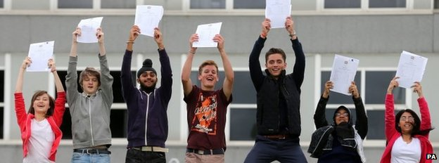 Students celebrate their exam results