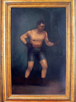 A painting of boxer Iron Hague