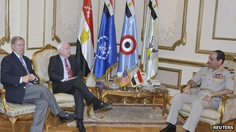 Lindsey Graham and John McCain meet Gen Abdul Fattah al-Sisi in Cairo (6 August 2013)