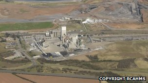 Aerial view of cement works