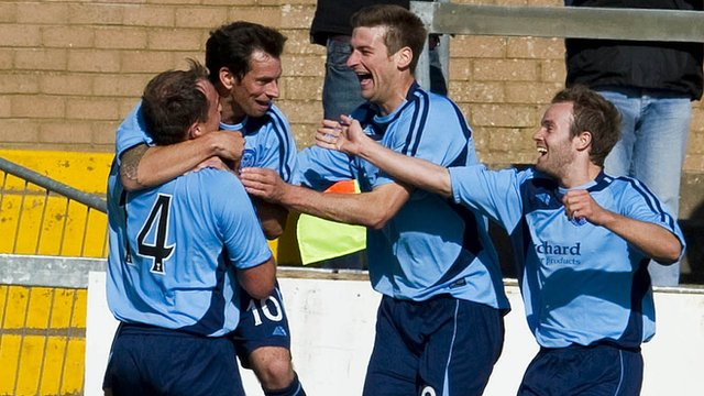 Forfar celebrate Gavin Swankie's extra-time winner at Station Park