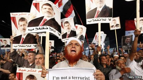 Supporters of Mohammed Morsi in Cairo. 6 Aug 2013