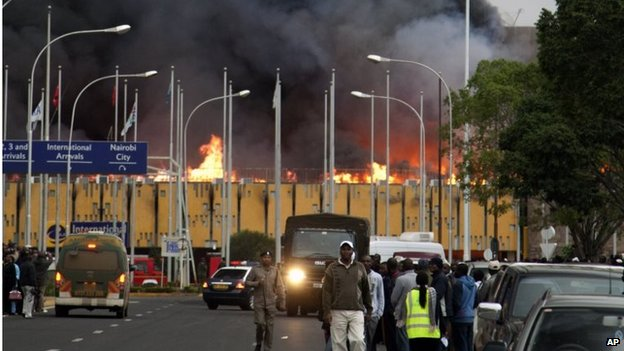 Black smoke billows from the international arrival unit of Jomo Kenyatta International Airport in Nairobi, Kenya on Wednesday morning