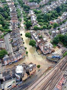 Aerial view of Herne Hill flood
