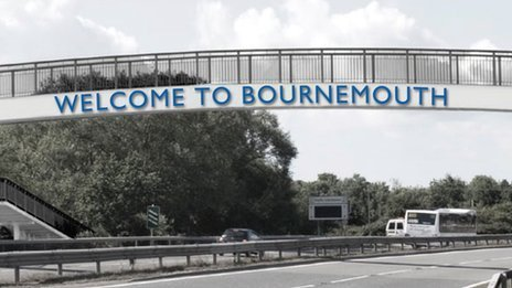 Artist's impression of the new Welcome to Bournemouth sign