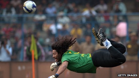Goalkeeper Rene Higuita during an exhibition match between the Brazilian Masters and Indian All Stars on 8 December, 2012.