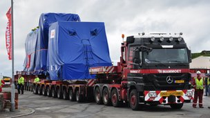 Guernsey Electricity generator being transported to the power station