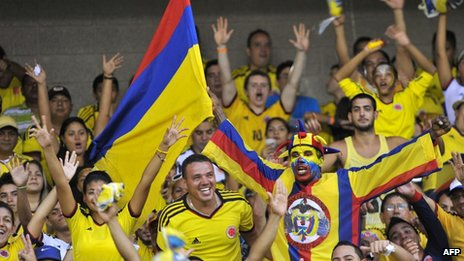 Supporters of Colombia cheer for their team before their FIFA World Cup Brazil 2014 qualifier against Peru on 11 June, 2013.