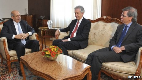 Egypt's interim Vice President Mohamed ElBaradei (L) meets with U.S. Deputy Secretary of State William Burns (C) and The European Union envoy Bernardino Leon in Cairo in this handout picture dated 6 August, 2013.