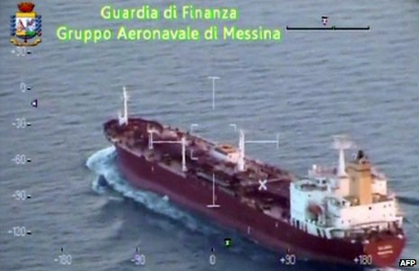 The Salamis oil tanker heading for Sicily, 7 August (still from video)
