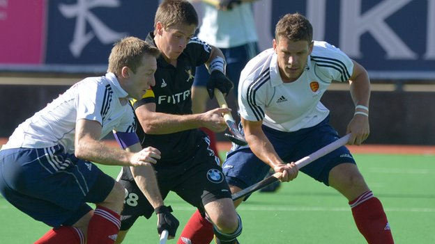 England men's hockey team in action