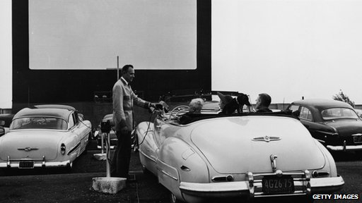 Drive in movie theater in NY in 1950
