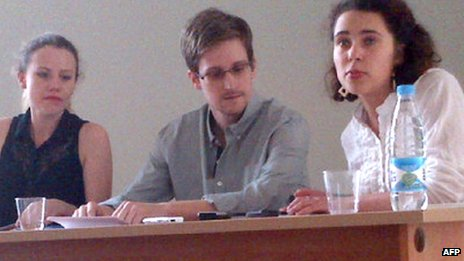 Edward Snowden, centre, in Moscow. 12 July 2013