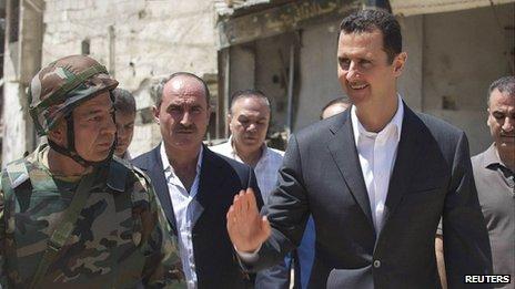 Syrian President Bashar al-Assad visits Daraya. 1 Aug 2013