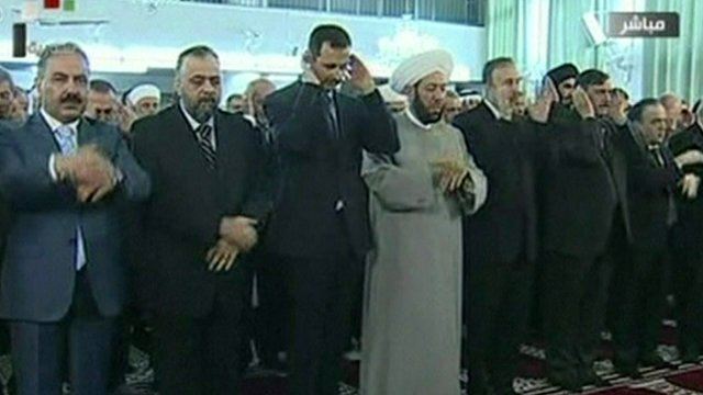 President Assad praying in a mosque