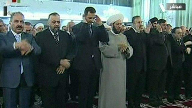 President Assad praying in a mosque