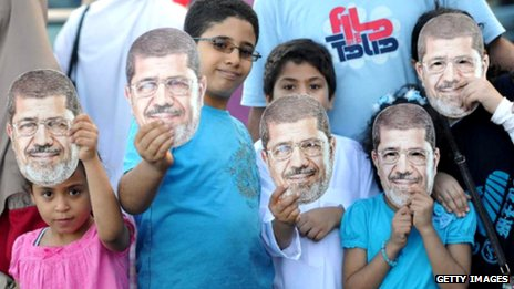 Children hold up Mohammed Morsi masks in Alexandria