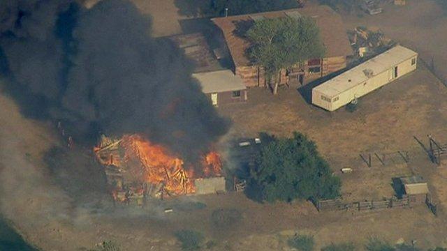 Burning building near Banning, California