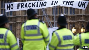 Environmentalists protesting against fracking