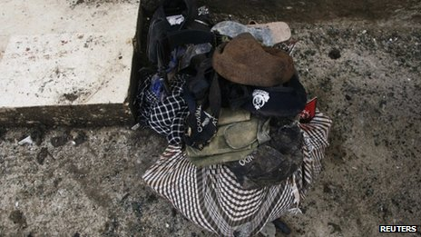 Caps, footwear and personal belongings of victims of the blast