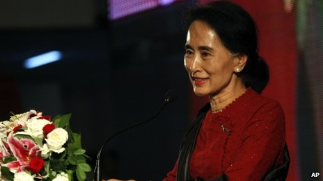 Aung San Suu Kyi at the public commemorations