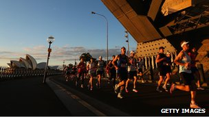 Marathon runners in Sydney