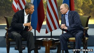 US President Barack Obama with Russian President Vladimir Putin during the G8 summit.