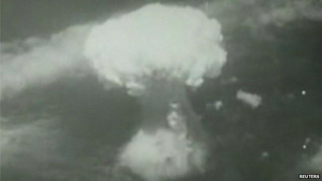A big white mushroom cloud formed the moment the bomb dropped on Nagasaki