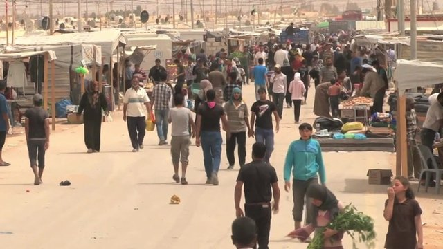 A bustling street dubbed 'Champs Elysees' inside the Zaatari camp.